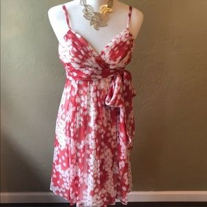 BCBG Coral Floral Silk Party Dress